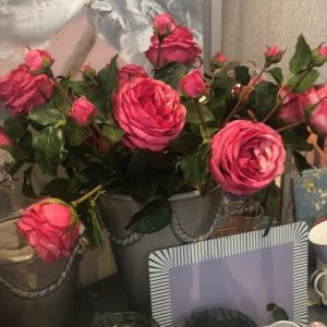 Pink Artificial Roses in Grey Decorative Vase