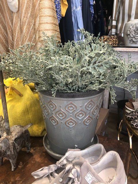 Artificial Light Green Plant in Grey Decorative Pot