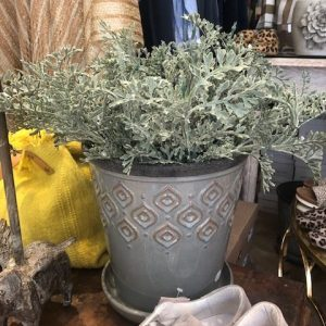 Artificial Light Green Plant in Grey Decorative Pot