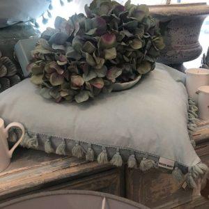 Blue/Grey Tasseled Cushion