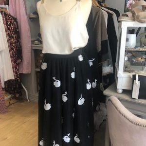 Black Embroidered Swan A-Line Midi Skirt