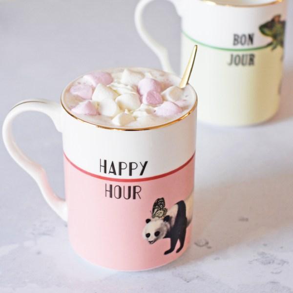 Yvonne Ellen 'Happy Hour' and 'Bonjour' Mugs, Set of 2