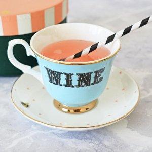 Yvonne Ellen Pastel Wine Tea Cup & Saucer