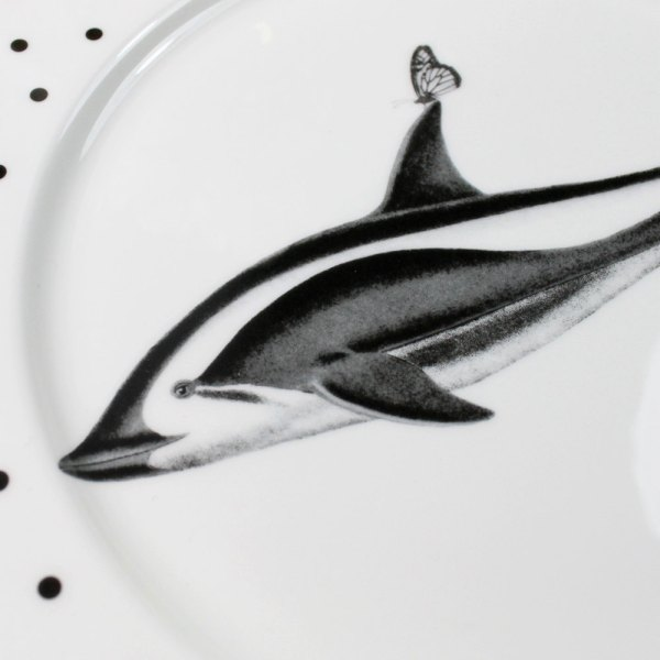 Monochrome Dolphins and Butterflies Dinner Plate, White/Black_Detail