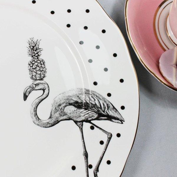 Yvonne Ellen Monochrome Fancy Flamingo Dinner Plate, White/Black_Detail