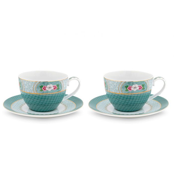 Blushing Birds Set of 2 Cappuccino Cups & Saucers