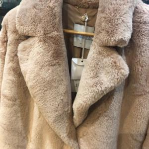 Rino & Pelle 3/4 Length Faux Fur Coat in Baby Pink