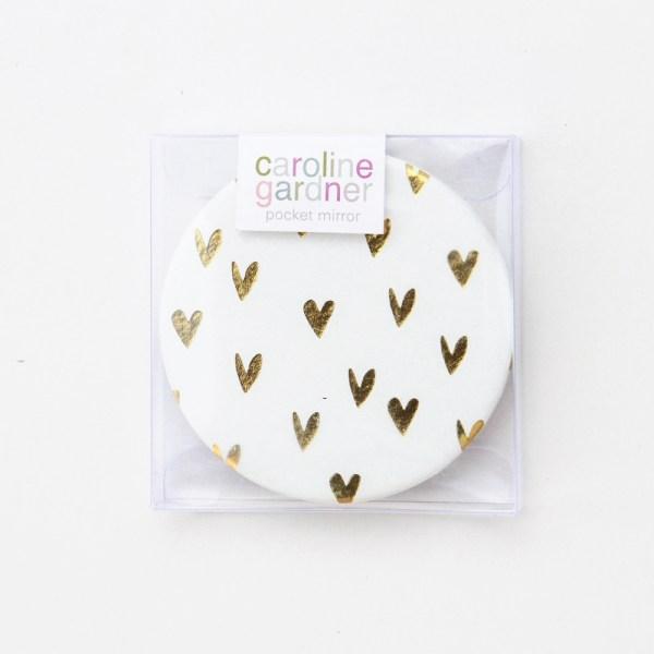 Caroline Gardner Gold Hearts Pocket Compact Mirror