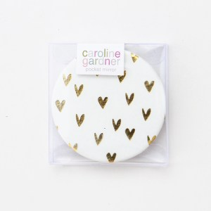 Caroline Gardner Gold Hearts Pocket Compact Mirror