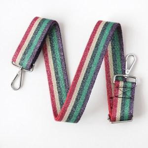 Caroline Gardner Metallic Rainbow Webbing Handbag Strap
