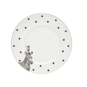 Yvonne Ellen Monochrome Zebras and Cocktails Dinner Plate