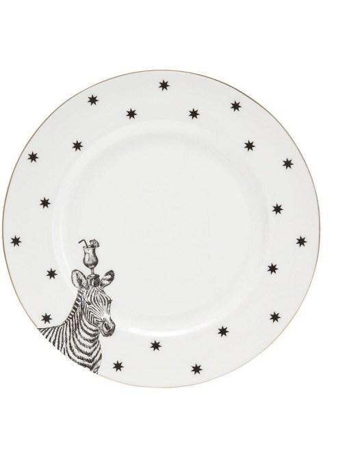 Yvonne Ellen Monochrome Zebras and Cocktails Dinner Plate