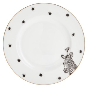 Monochrome Zebras And Cocktails Side Plate