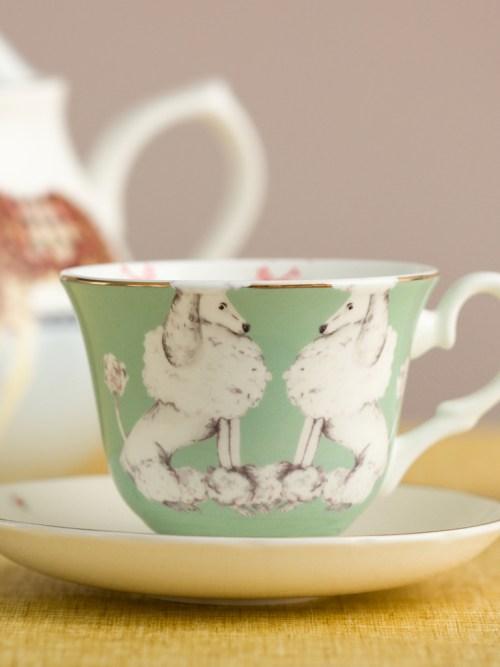 Yvonne Ellen Sausage Dog and Poodle Tea Cup & Saucers set