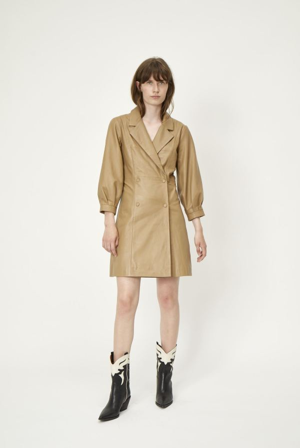 Leather Dress in Camel