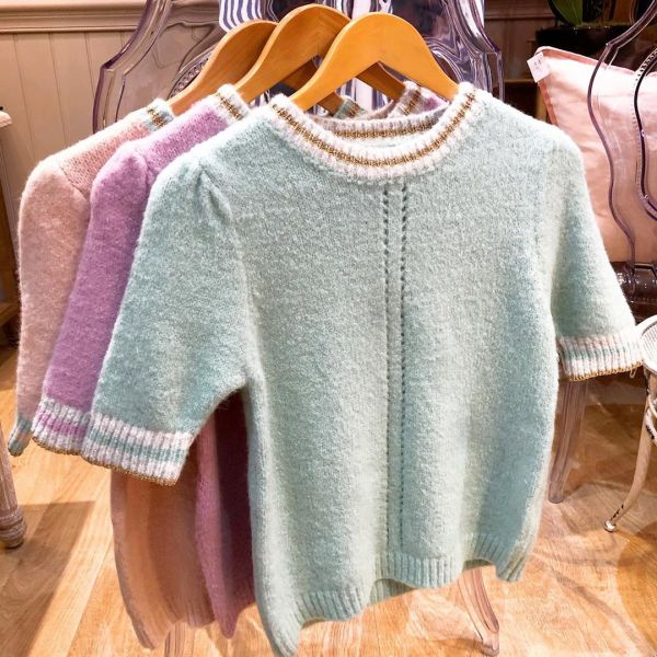 Short Sleeved Pastel Knits with Gold Trim