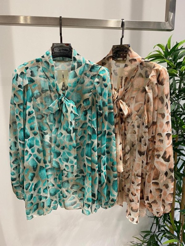 Leopard Print Pussy Bow Tie Blouse in Turquoise