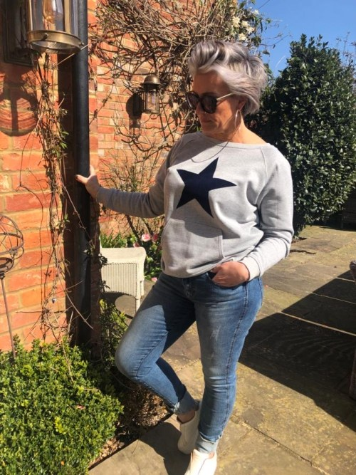 Grey Lounge Top with Navy Blue Star