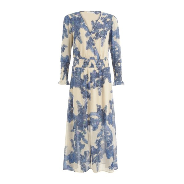 Feather Bloom Blue Dress with Smock Details