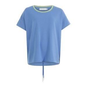 Clear Blue Jersey blouse with Tie String at Waist