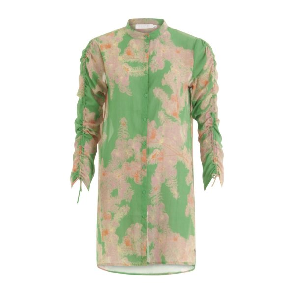 Feather bloom green shirt with tie strings at sleeves