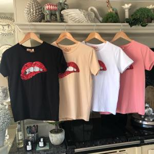 T-Shirt with Red Sequin Lips