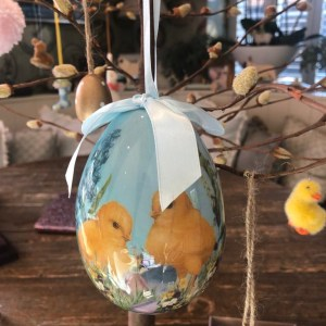 Hanging Blue China Egg with Chick Illustration