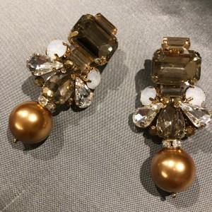 Clip On Jewelled Bronze Drop Pearl Earrings