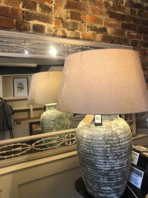 Large Stone Lamp with Beige Shade