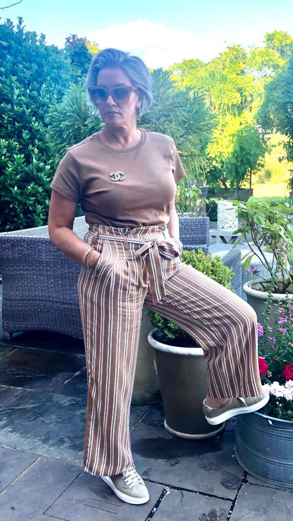 Pin striped Paper Bag Trousers in Latte/White