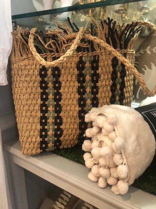 Woven Tote Bag with Black/Green Detail