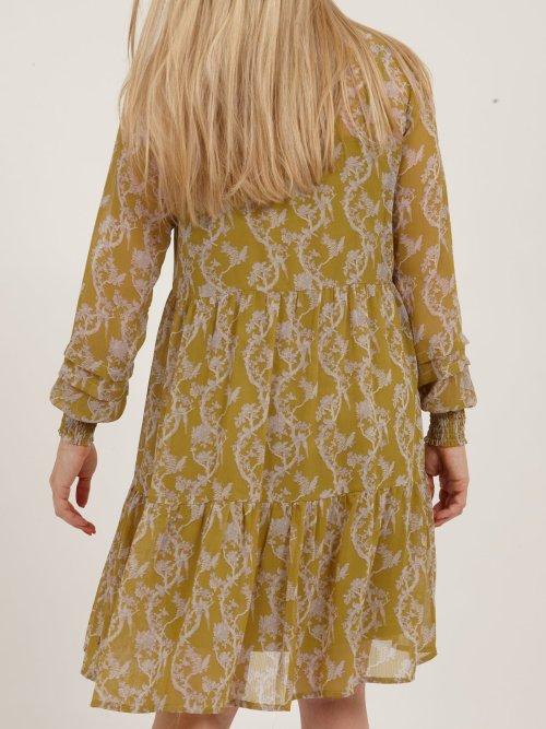 Smock Dress in Lime Green Tapestry Print