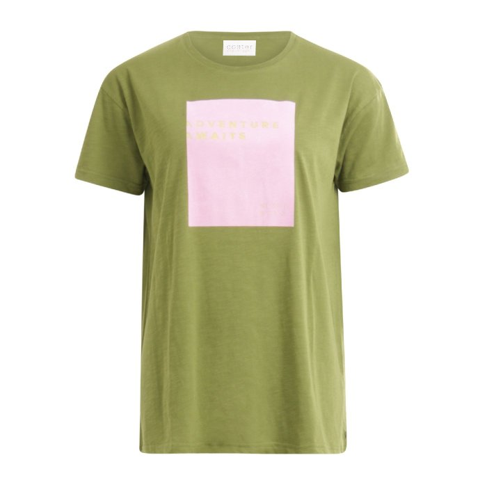 Oversized T-shirt in Forest Green with Slogan