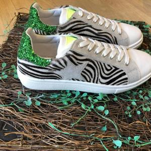 Requins Zebra Print Leather Trainer with Star