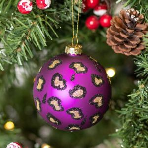 Gisela Graham Purple Leopard Print Glass Bauble