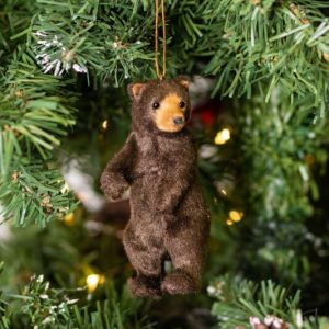 Gisela Graham Faux Fur Brown Bear Tree Decoration