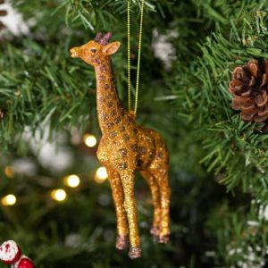 Gisela Graham Gold Glitter Acrylic Giraffe Tree Decoration