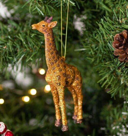 Gisela Graham Gold Glitter Acrylic Giraffe Tree Decoration
