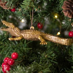 Gisela Graham Gold Acrylic Crocodile Tree Decoration