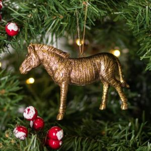 Gisela Graham Gold Acrylic Zebra Tree Decoration