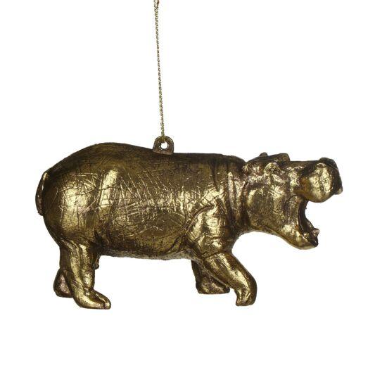 Gisela Graham Gold Acrylic Hippo Tree Decoration