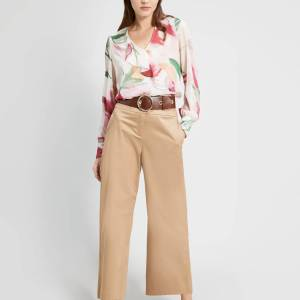 Wide Leg Cotton Satin Trousers in Beige