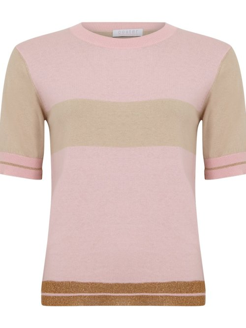 Short Sleeved Knit with Lurex Rib