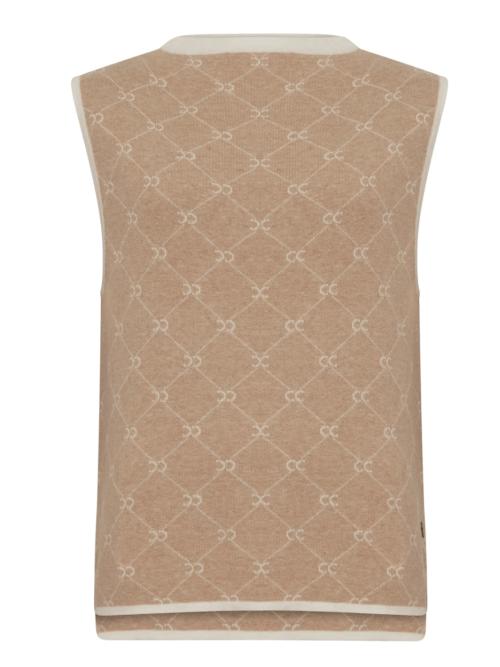 Beige Knit Vest in CC Monogram