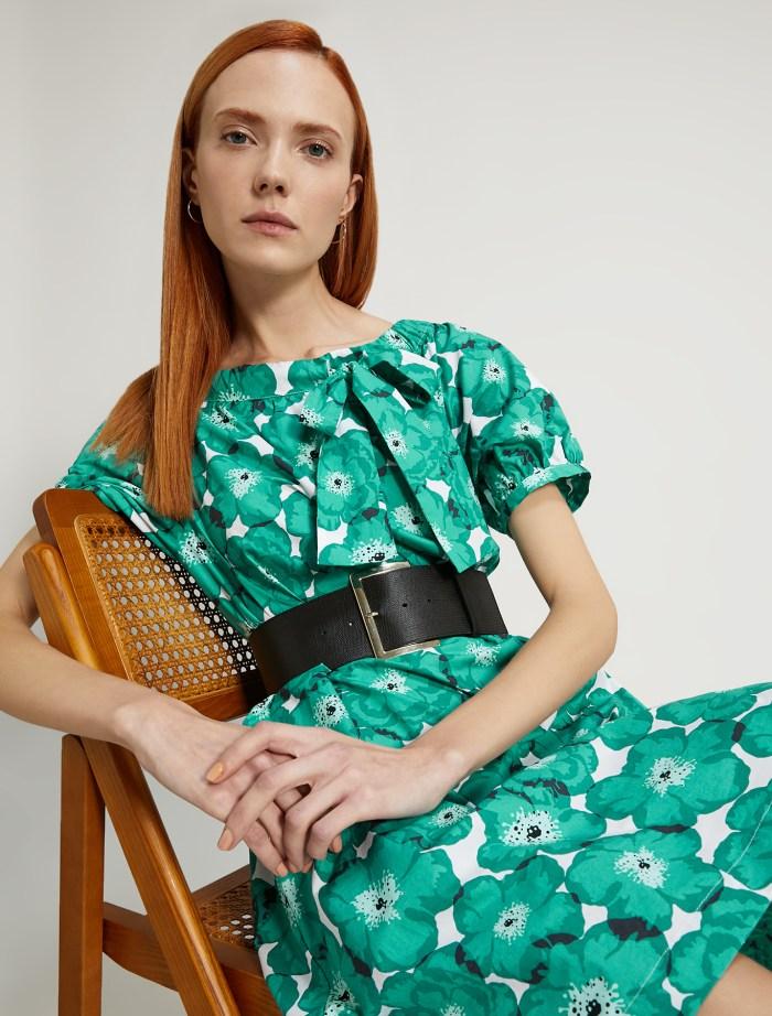 Cotton Poplin Dress in Emerald