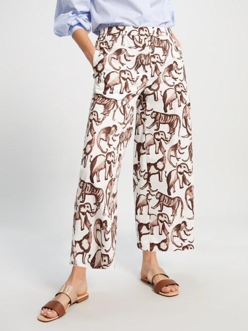 Printed Poplin Trousers in Animal Print