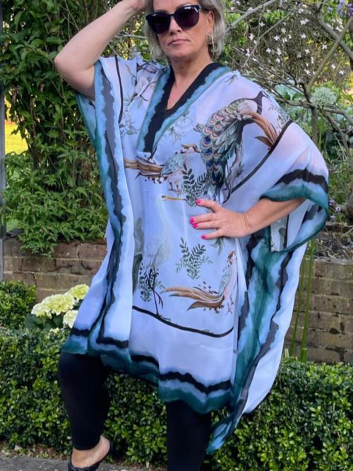 V-Neck Printed Sheer Kaftan Dress