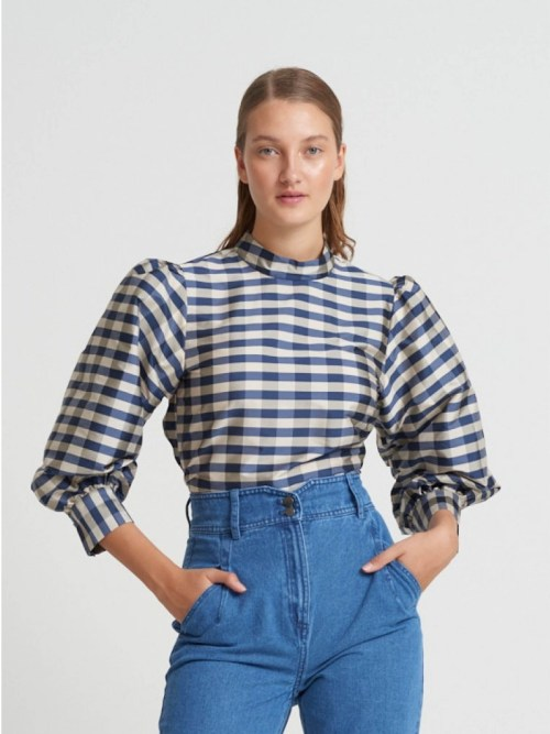 Parsley Madja blouse in Blue Check
