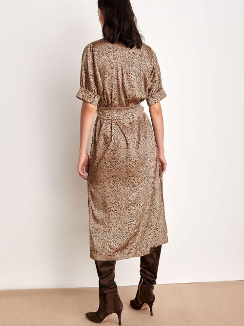 Camel Mid-length Patterned Dress