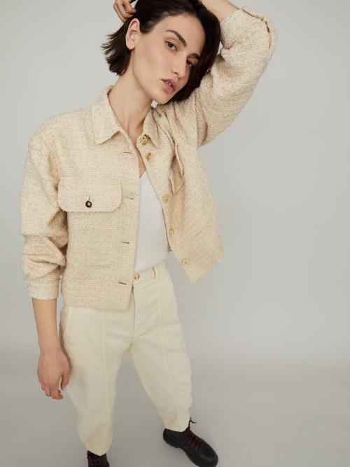 Boucle Boxy Jacket in Ivory